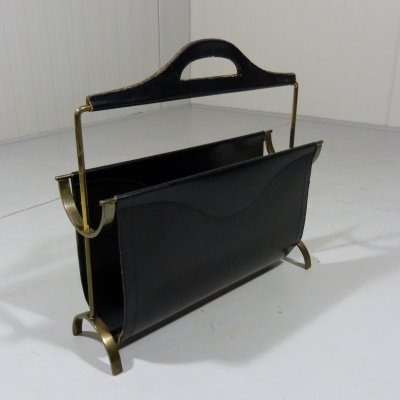 Brass & leather magazine rack, 1950's