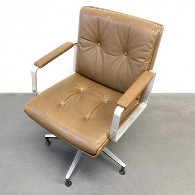 Brown Leather Swivel Conference Office Chair by Wilde & Spieth, Germany