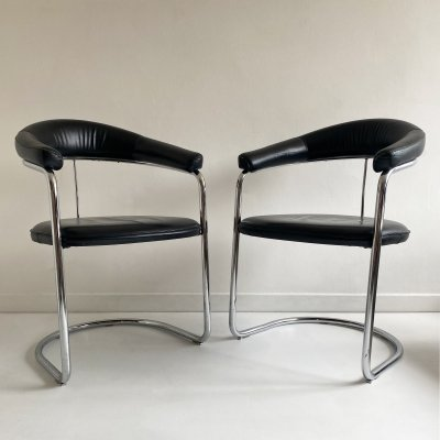 Leather & Chrome Cantilever Chairs, 1980s