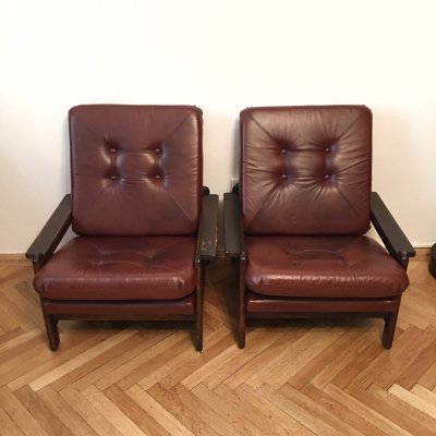 Pair of Large Brown Vintage Armchairs, 1960s