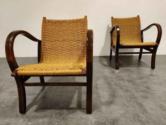 Lounge Armchairs in Papercord by Vroom & Dreesman, 1950s