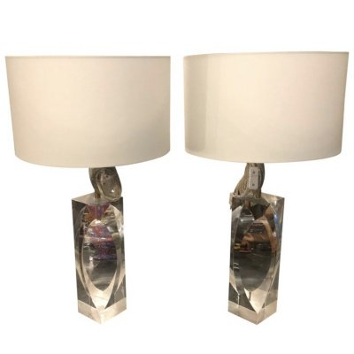 Set of Two Modernist Plexiglass Italian Design Table Lamps, circa 1970