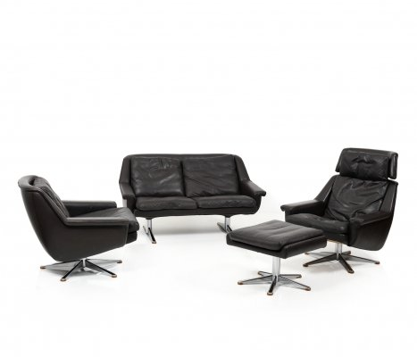 Danish Leather Seating Group by Werner Langenfeld for ESA, 1960s