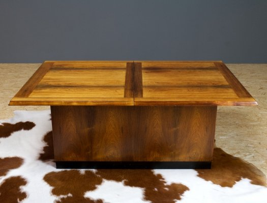 Danish rosewood coffee table with dry bar by Dyrlund, Denmark
