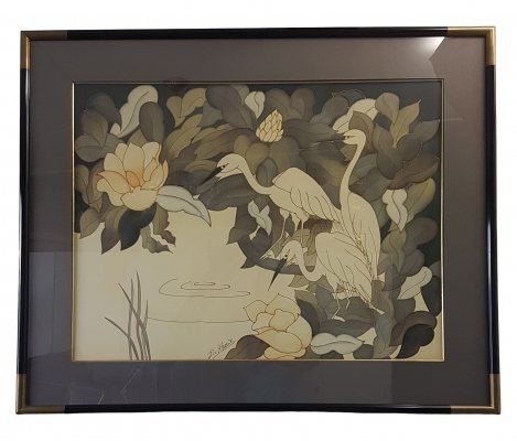 Vintage large hand-painted aquarel on silk with silver herons