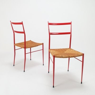 Set of 2 Mid Century Metal & Straw dining chairs, 1960s