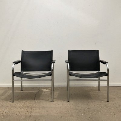 Scandinavian Modern Chrome & Leather Klinte Chairs by Tord Bjorklund, 1970s