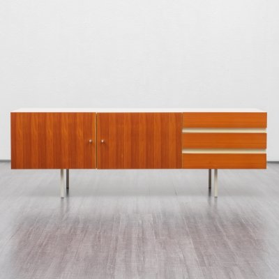 Mid-Century Interlübke sideboard in white with wooden fronts, 1970s