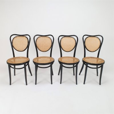 Set of 4 Mid Century Zpm Radomsko Bentwood & Cane dining chairs, 1960s