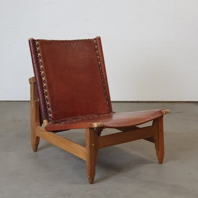 Wooden low chair by Arte Sano with cognac leather seating, 1960s