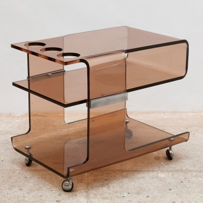 Lucite Bar Cart by Michel Dumas for Roche Bobois, France 1970s