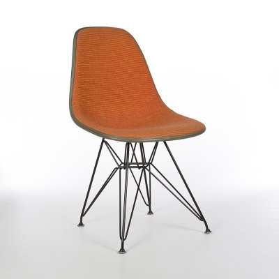 Orange Checker Herman Miller Original Eames DSR Dining Side Chair