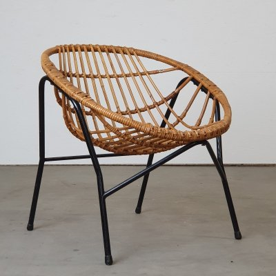 Rare rattan chair by Rohé Noordwolde, 1950s