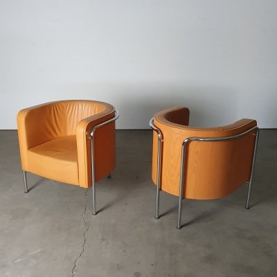 High quality leather 's3001' Club chairs by Christoph Zschoke for Thonet, 1990s