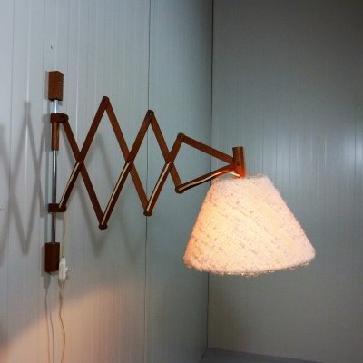 Teak wooden scissor wall lamp, 1960's