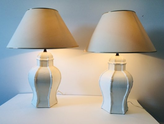 Pair of Deco White Ceramic Table Lamps by Casa Fina, Spain 1970's