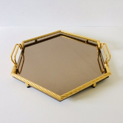 Hollywood Regency Style Hexagon Serving Tray in Brass & Mirror Glass, Italy 1970