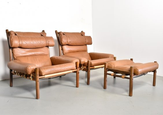 Pair of Inca lounge chairs by Arne Norell for Norell Möbel AB, 1960s