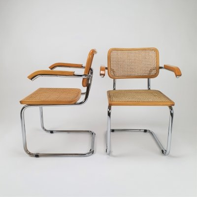 Set of 2 Tubular Frame & Cane Cantilever Arm chairs, Italy 1970s