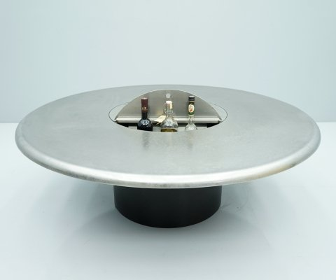 Etched Metal Coffee Table With Bar / Refrigator by Heinz Lilienthal, 1960s