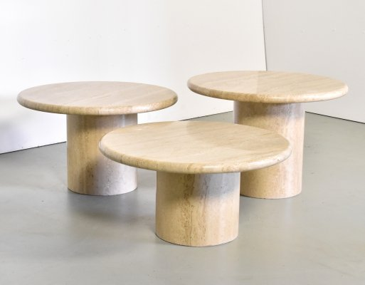 Set of 3 Up&up Travertin tables, Italy 1970s