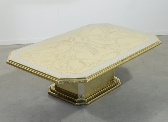 Handcrafted brass coffee table by Harry Snören, 1970's