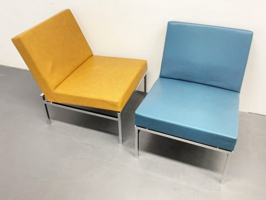 Pair of Mid Century Thonet Lounge Chairs in tubular Steel & imitation Leather, 1960s