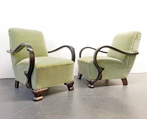 Pair of Art Deco Armchairs in green, 1920/30s