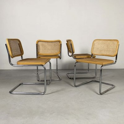 Set of 4 B32 Cesca Chairs by Marcel Breuer for Gavina, 1970s