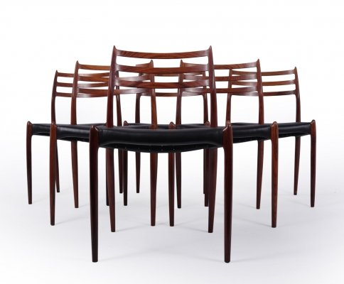 Set of 6 Model 78 Dining Chairs by Niels O. Møller, c1962