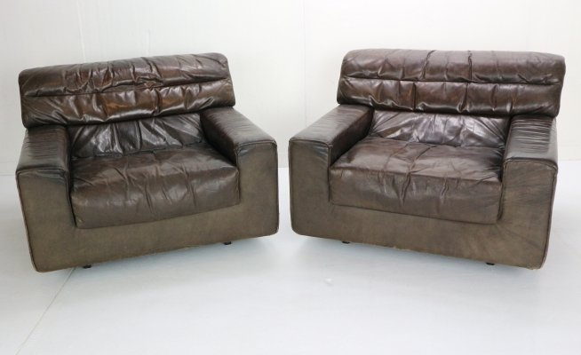 Set of 2 Brown Leather Lounge Chairs by Walter Knoll, 1970s