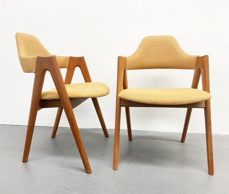 Pair of Mid Century Compass Teak Chairs by Kai Kristiansen for SVA Møbler, Denmark