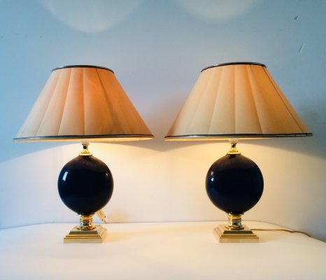 Hollywood Regency Style set of 2 Blue Stone Design Table Lamps by Maison Le Dauphin, 1970's