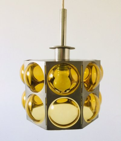 Midcentury Modern Scandinavian Design Yellow Bubble Glass pendant lamp, 1960's