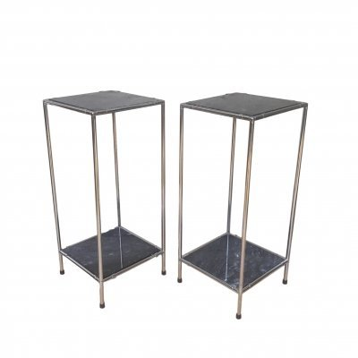 Pair of Side Tables in Chrome & Marble, 1970s