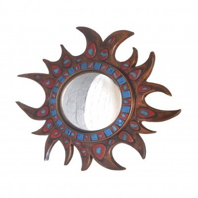 Sun Shaped Full Ceramic Wall Mirror, 1950s