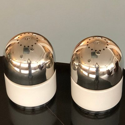 Pair of Chrome & Glass 'Salt & Pepper' Table Lamps by Goffredo Reggiani, 1970s
