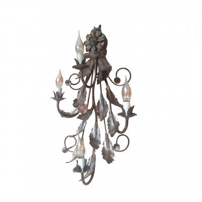 XL Gilded Cast Iron & Glass Wall Sconce, 1950s