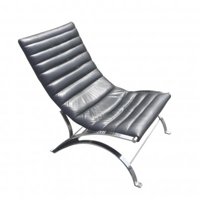 Adjustable Lounge Chair in Leather & Chrome, 1970s