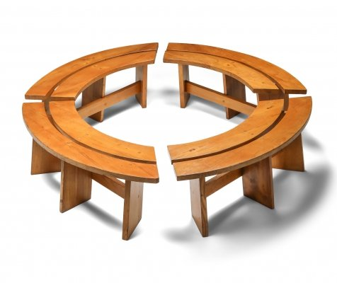 Pierre Chapo Curved Benches in French Elm, 1960s