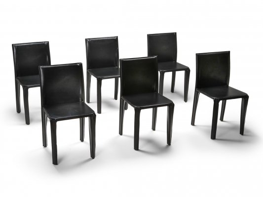Black Leather 'Pasqualina' Dining Chairs by studio Grassi & Bianchi for Pellizzoni, 1980s