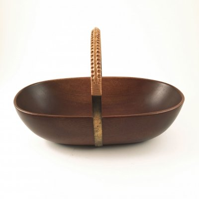 Carl Aubock wood & brass bowl or basket