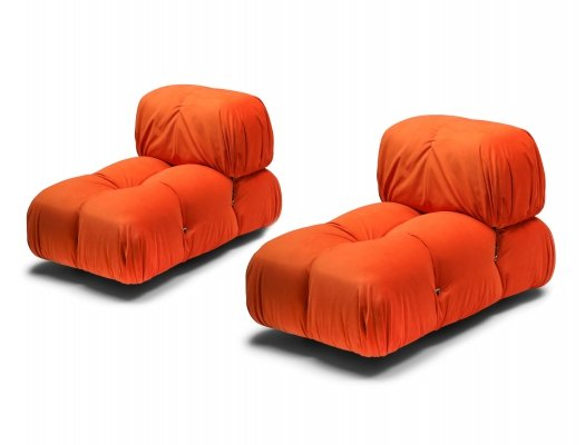 Camaleonda Lounge Chairs in Bright Orange Velvet - 1970s