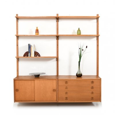Mid Century Danish Wall Unit in Oak by Randers Møbelfabrik