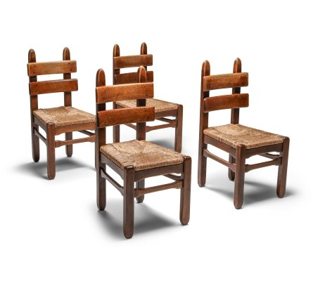 Rustic Modern Oak & Cord Chairs, 1930s