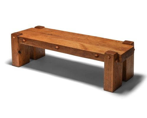 Rustic Modern Rectangular Coffee Table in Solid Oak, 1960s