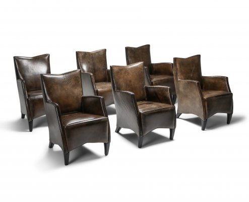Bart Van Bekhoven Armchairs in Brown Grey Patina Sheep Leather, 1970s