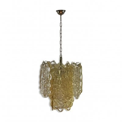 Vintage murano glass 'Spun Sugar' chandelier by Mazzega, Italy 1970s