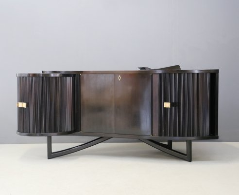 Italian bar cabinet in ebonized wood, brass & glass, 1940s