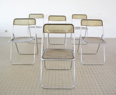 Set of 6 Lucite & Chrome folding chairs, 1970s